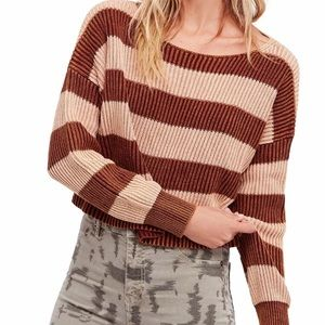 Free People Just My Stripe Cotton Crop Sweater S